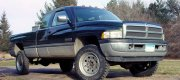 Tim - Hugo, MN 1996 Dodge 2500 4X4 with Rickson Powder Coated Steel Wheels (in silver) with Goodyear G-171 8R19.5 Tires, factory lugs.